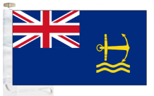 Royal Navy Royal Maritime Auxiliary Service RMAS 1976 to 2008 Ensign Courtesy Boat Flag (Roped and Toggled)
